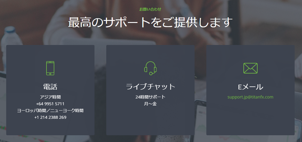 TitanFX 評判_サポートのイメージ画像